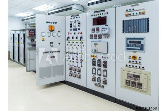 Industrial electrical switch panel at a power plant substation